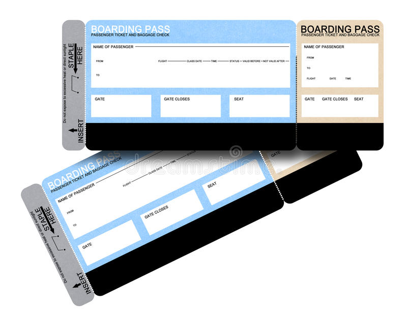 Two blank airline boarding pass tickets royalty free stock image