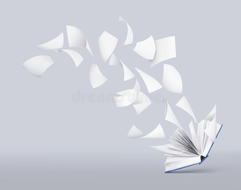 Two blank books with flying pages royalty free illustration