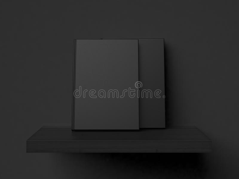 Two blank books on a shelf. 3d rendering. Blank books on a modern wooden shelf and black wall royalty free illustration