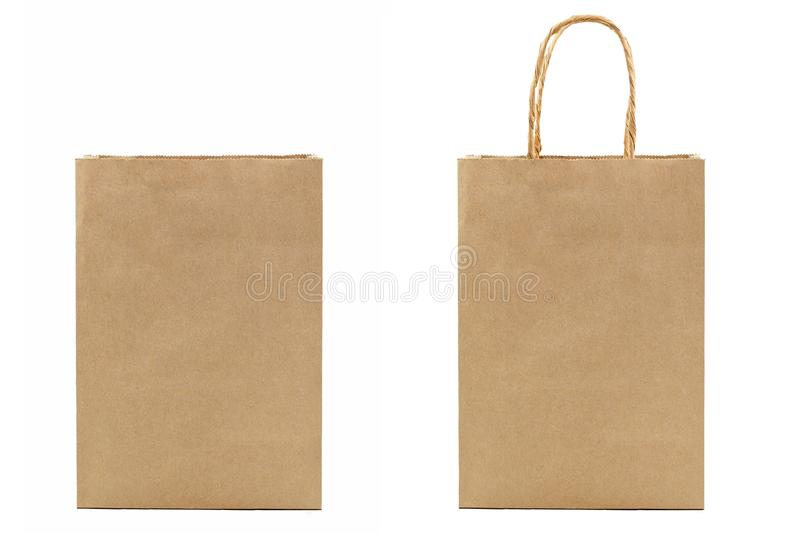 Two blank brown paper bag isolated on white background. Selecitve focus stock image