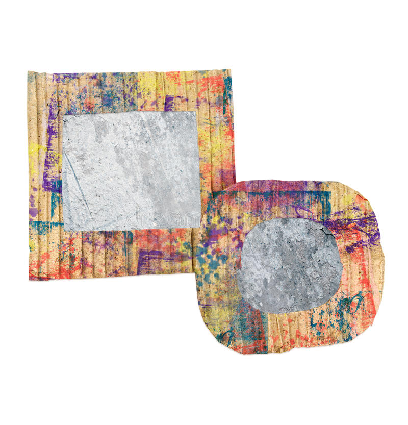 Two blank grunge wall, colorful painted cardboard frames, isolated on white stock photography