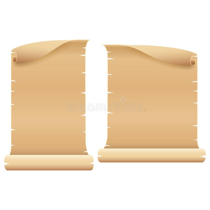 Two Blank Light Brown Parchment on White Background stock images
