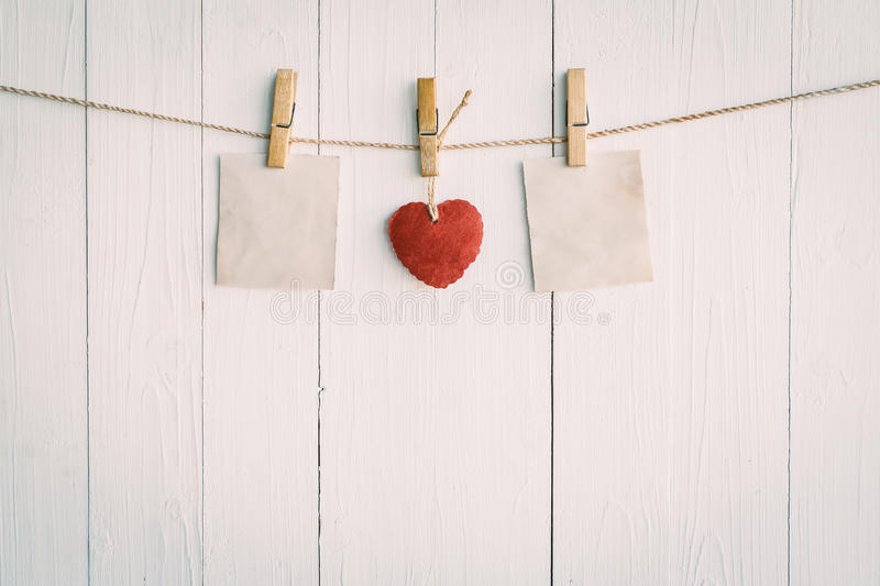 Download Two Blank Old Paper And Red Heart Hanging. On White Wooden Stock Photo - Image of holiday, frame: 64870582