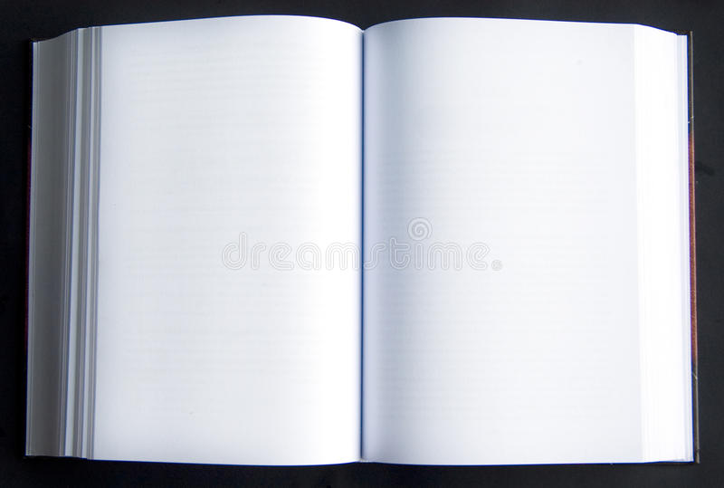 Two blank pages in a book stock photo