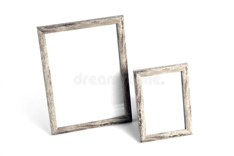 Two blank photo frames for painting or picture on white background. Two blank photo frames for painting or picture on white background stock photography