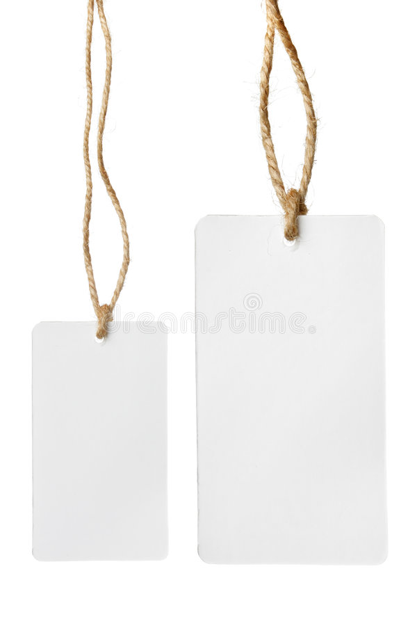 Two blank price tags stock photography