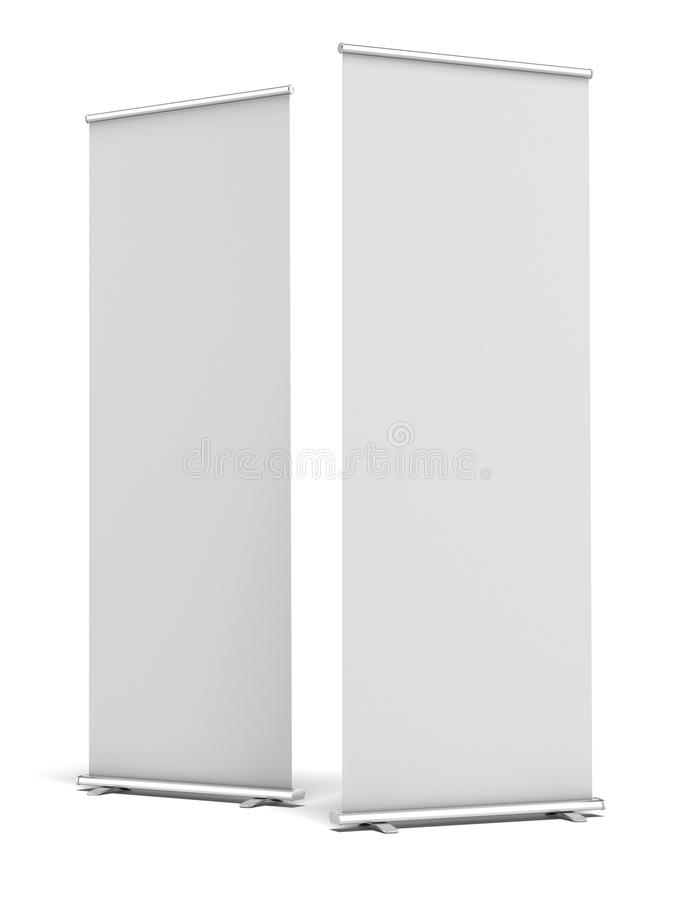 Two Blank Roll Up Display Banner royalty free illustration