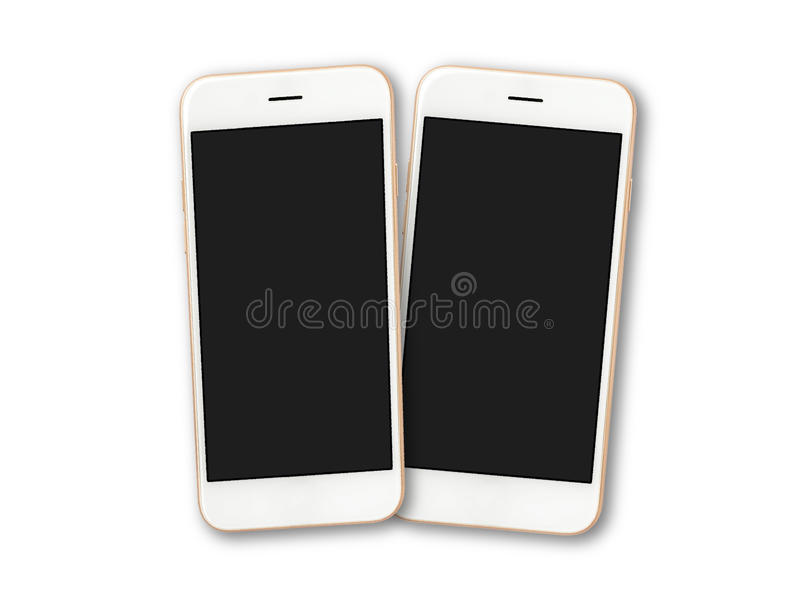 Two blank screen smartphone isolate on white royalty free stock images
