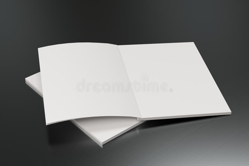Two blank white open brochure mock-up on brushed metal background royalty free illustration