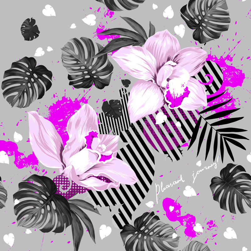 Two blooming orchids stock illustration