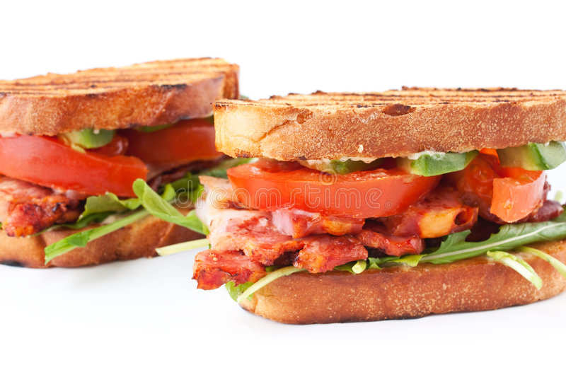 Two BLT sandwiches stock photography