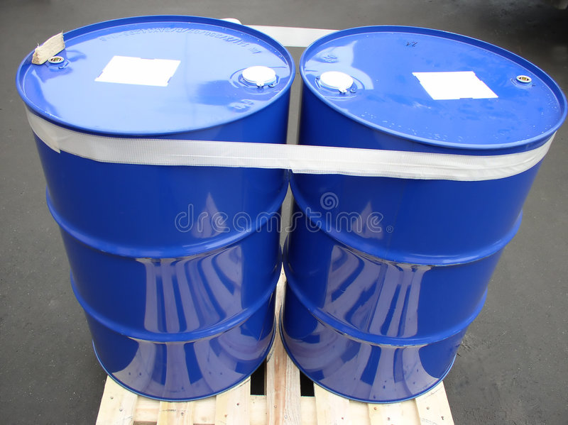 Two blue barrels