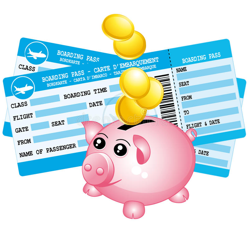 Download Two Blue Boarding Passes And Piggy Bank Icon. Stock Vector - Image: 40802056