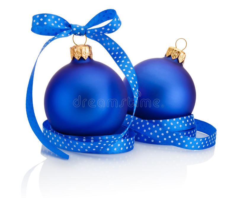 Two blue christmas ball with ribbon bow isolated on white