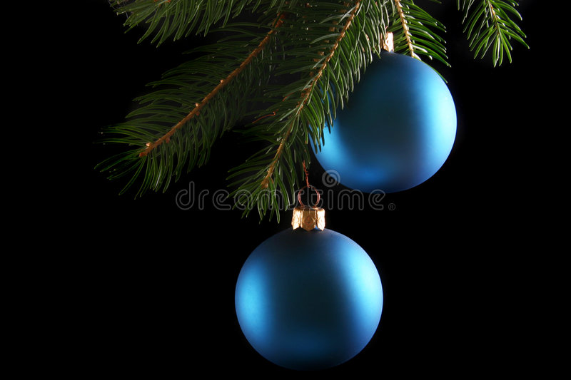 Download Two blue christmas balls stock image. Image of celebrations - 1017145