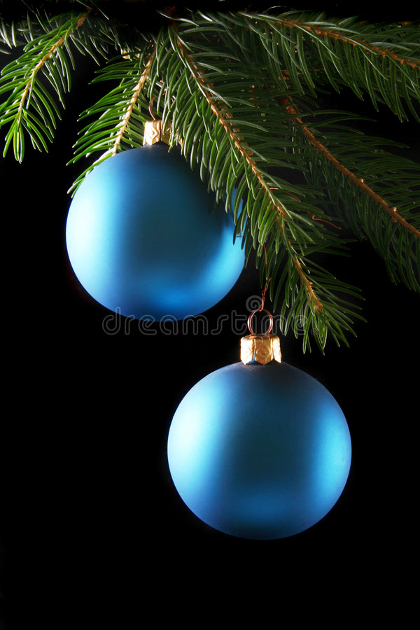 Download Two blue christmas balls stock photo. Image of hanging - 1017178
