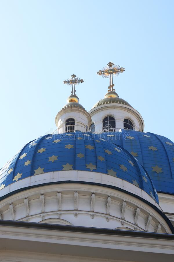 Two blue domes. & crosses. Trinity Izmailovsky Cathedral. Cathedral of the Holy Life-Giving Trinity of the Life Guards Izmailovsky Regiment. Saint-Petersburg royalty free stock photos