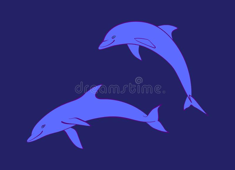 Two blue friendly dolphins. Vector cartoon cute marine animal illustration, isolated on navy background vector illustration