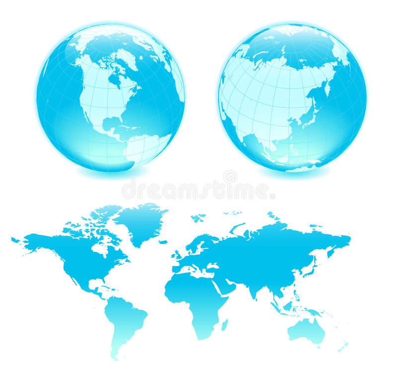 Download Two blue globes ang map stock vector. Image of circle - 4326157
