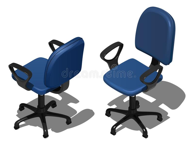 Two blue office rotating chairs, vector illustration in isometric view. Isolated on white background stock illustration