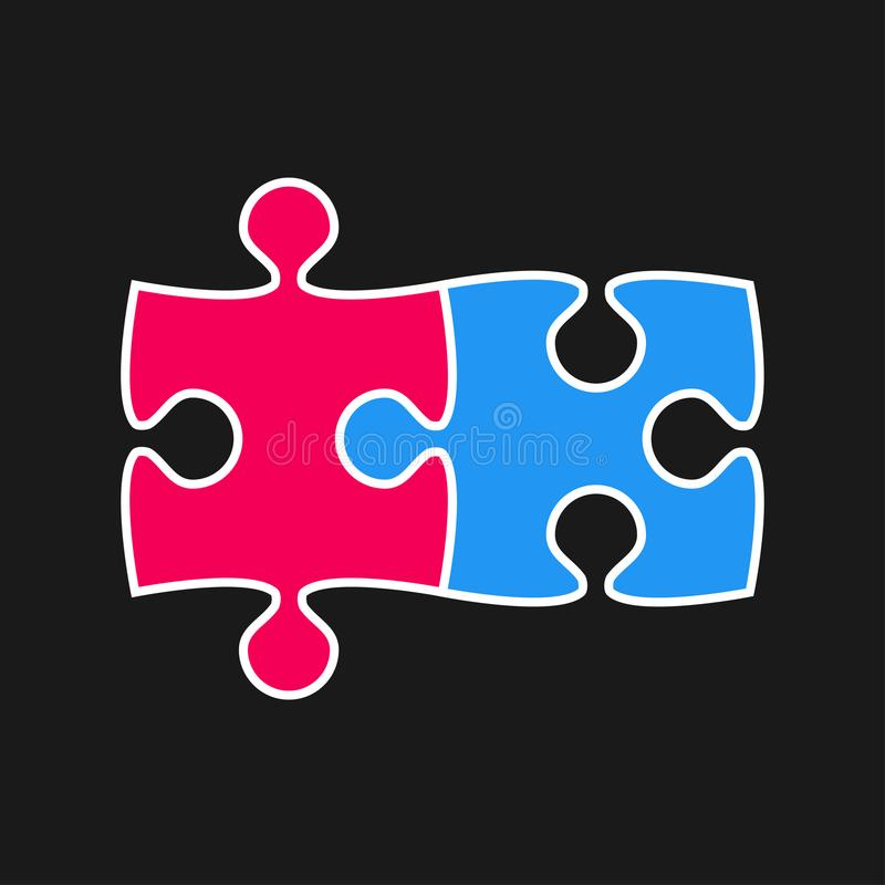 Two Piece Puzzle. 2 Step. Jigsaw. Logo. royalty free illustration