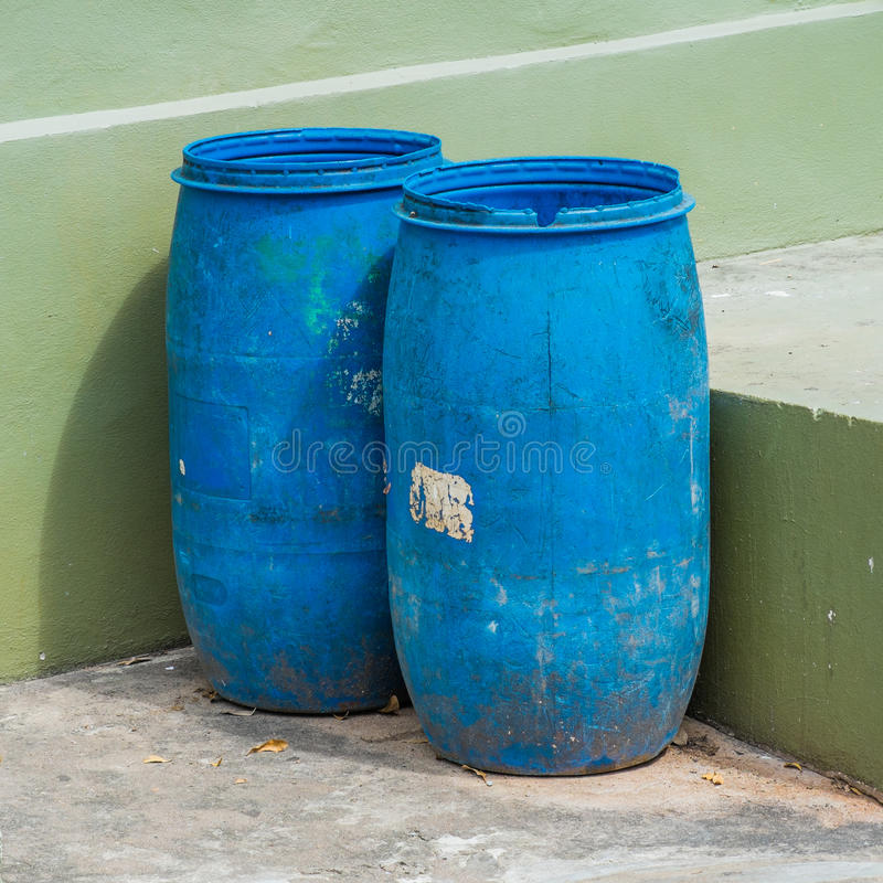 Two blue recycle bin. Outdoor royalty free stock photo