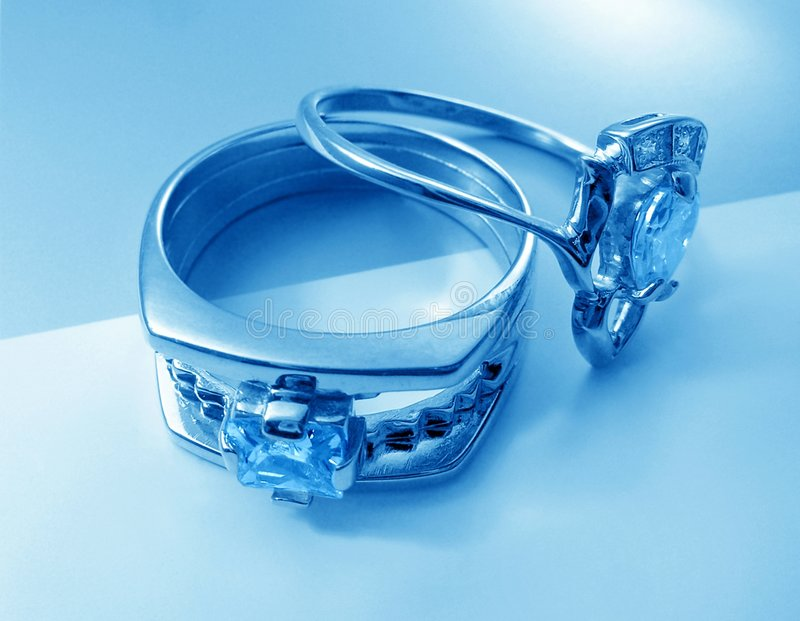 Two blue rings. Wiht gems royalty free stock images