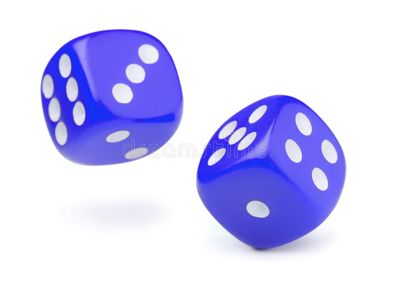 Two blue rolling dices. Isolated on white royalty free stock photos