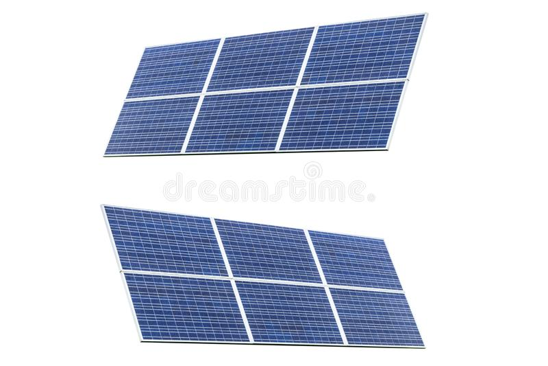 Two Blue Solar panel isolated on white background. Solar panels pattern for sustainable energy. Renewable solar energy. Alternativ. E energy stock images