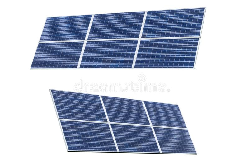 Two Blue Solar panel isolated on white background. Solar panels pattern for sustainable energy. Renewable solar energy. Alternativ. E energy stock photos