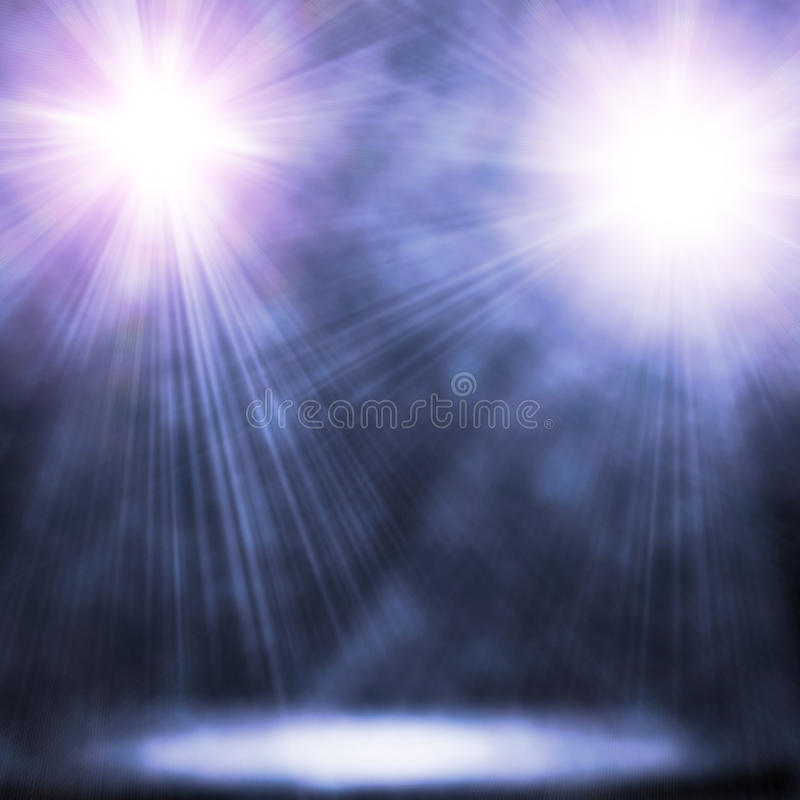 Two blue spotlights stock photography