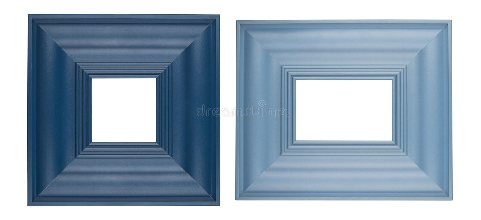 Two blue square picture frames stock photography