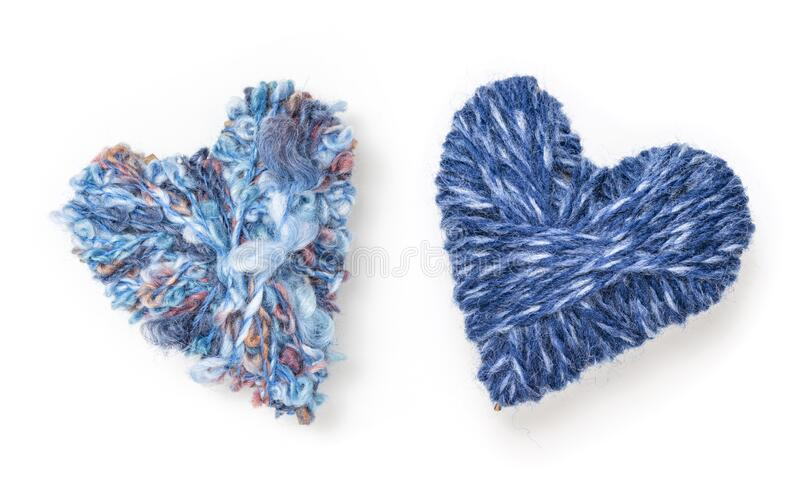 Two blue wool hearts royalty free stock images