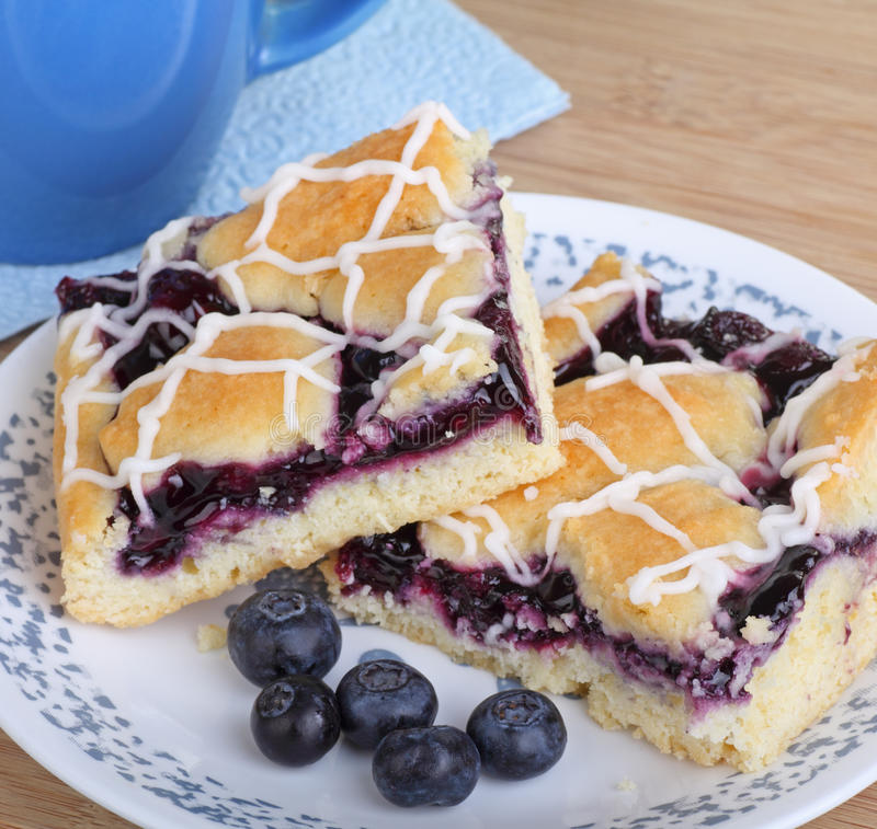 Two Blueberry Bars. With berries on a plate stock images