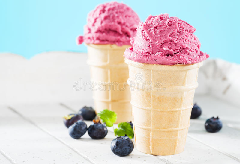 Download Two Blueberry Ice Cream Waffles With Blueberries Aside Stock Photo - Image: 30685530
