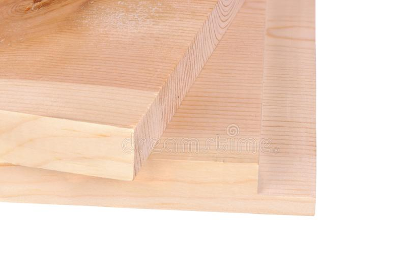 Two boards for a woodworking rabbet joint isolated stock photography