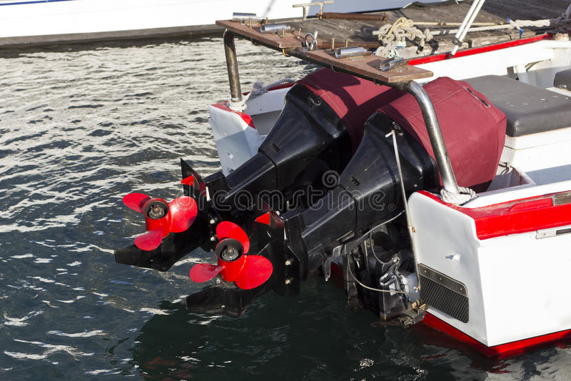 Download Two Boat Engines With Red Props Stock Photo - Image: 29205546