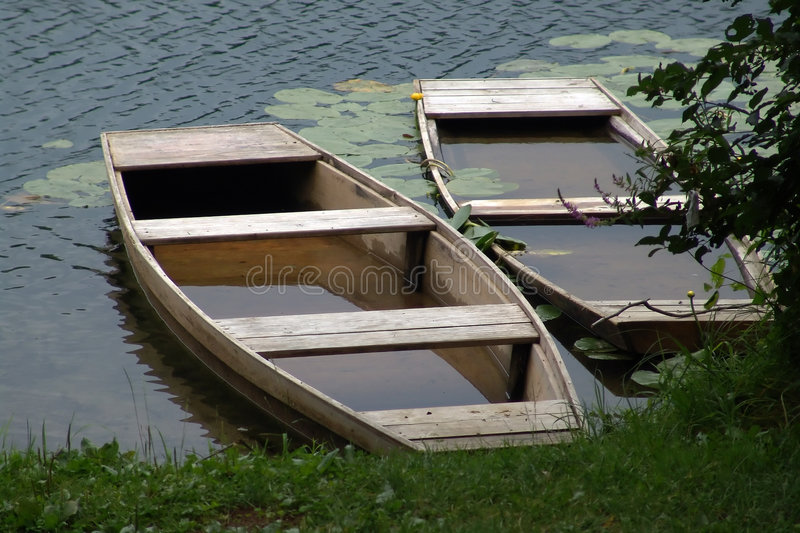 Two boat floating stock image