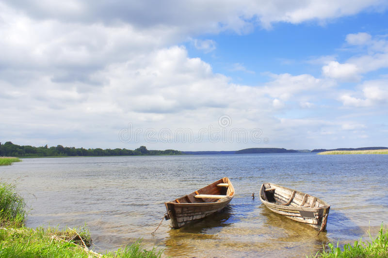 Two boats on the lakes of Braslav stock images