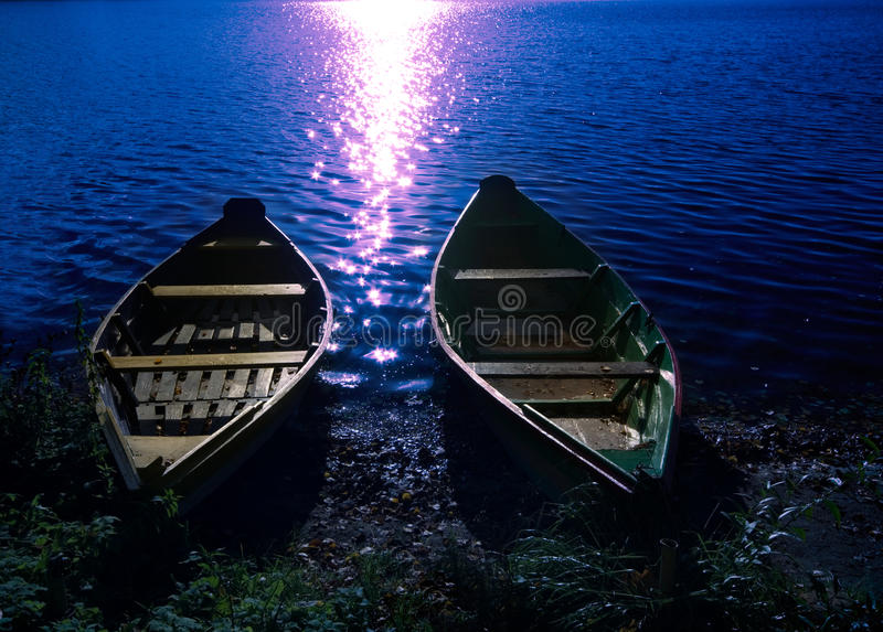 Download Two boats at moonlight stock photo. Image of transport - 26914128
