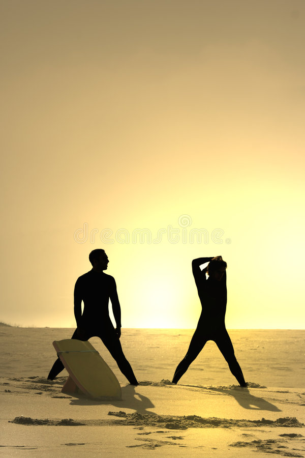Download Two bodyboarders at sunset stock image. Image of protect - 2318395