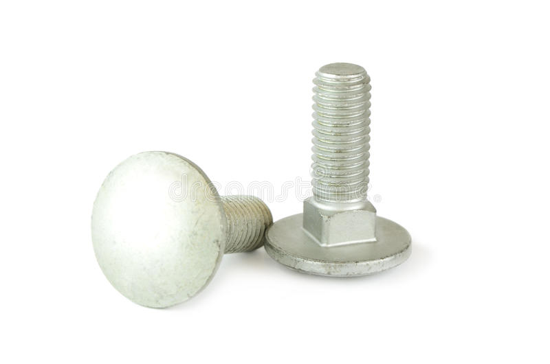 Two bolts on white background. royalty free stock photo
