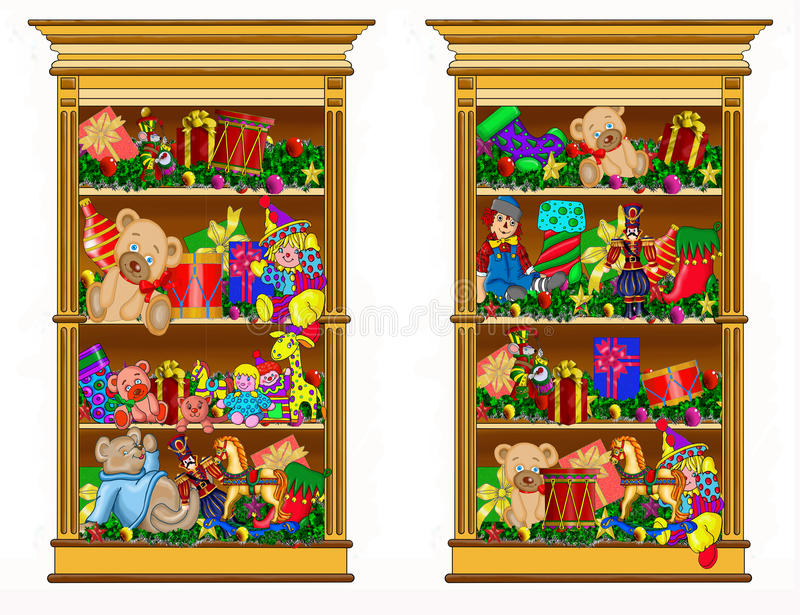 Two bookcases filled with gifts. royalty free stock photography