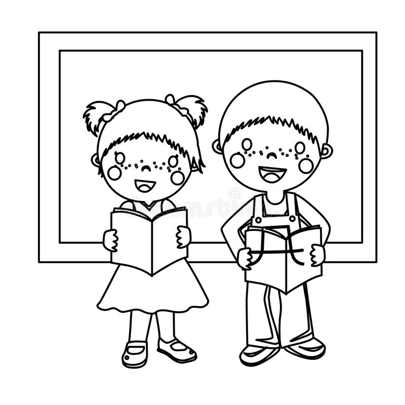 Two Bookish Children Coloring Page Stock Illustration - Illustration ...