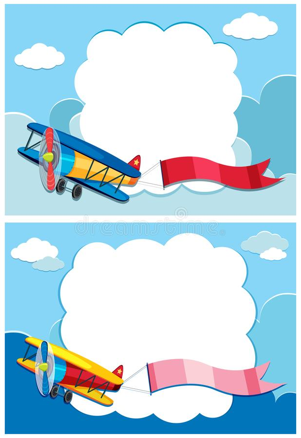 Border template with white airplane Royalty Free Vector