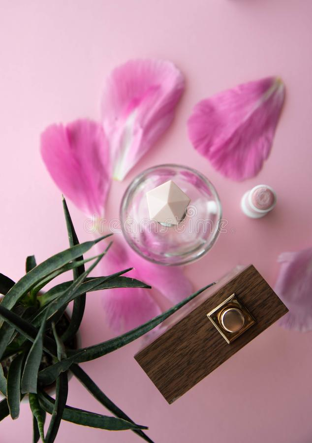 Two bottles of Junian spirits, toilet water, top view, pink cap and a tree bottle with pink flower petals, homemade green mini royalty free stock images
