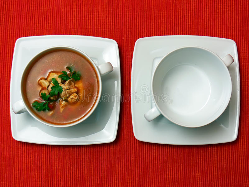 Download Two bowls on red fabric stock photo. Image of chicken - 12115006