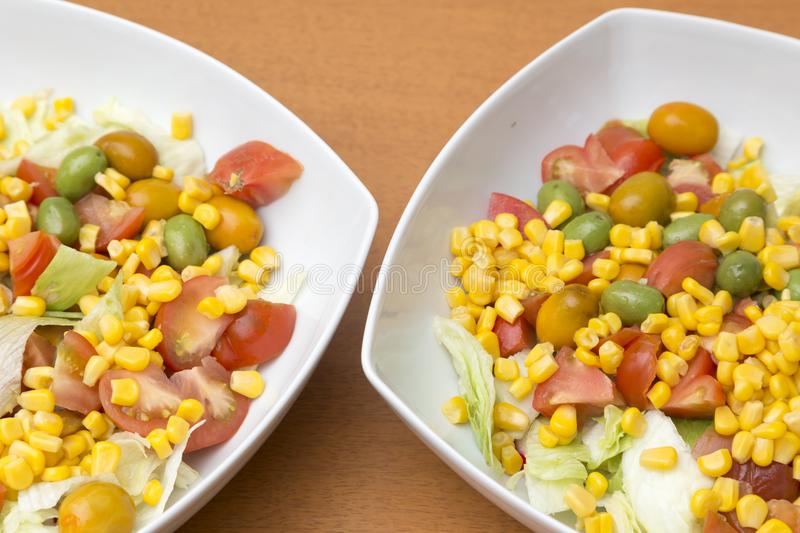 Two bowls with salad royalty free stock photos