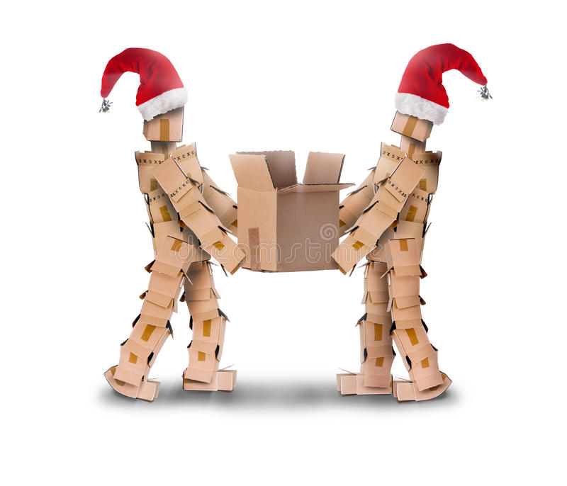 Download Two Box Characters In Christmas Hats Stock Photo - Image of christmas, cooperation: 47638522