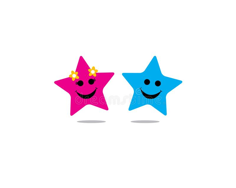 Two boy and girl stars holding hands together and smiling full of happiness stock illustration